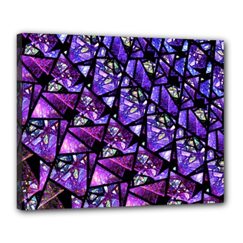 Blue Purple Glass Canvas 20  X 16  (framed)