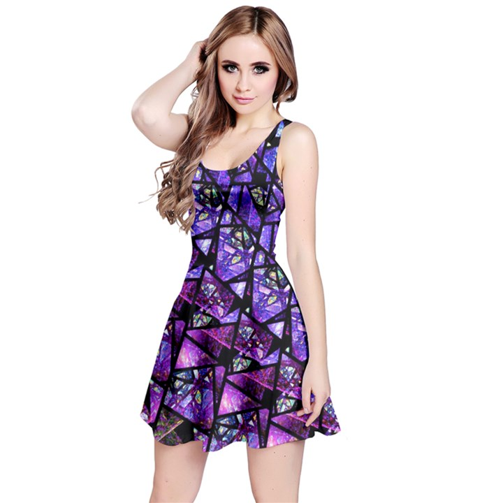 Blue purple Glass Reversible Sleeveless Dress