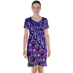Blue purple Glass Short Sleeve Nightdress