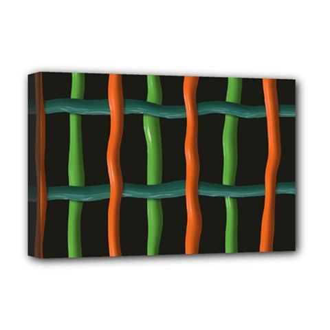 Orange Green Wires Deluxe Canvas 18  X 12  (stretched)