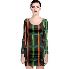 Orange green wires Long Sleeve Bodycon Dress