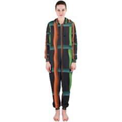 Orange green wires Hooded OnePiece Jumpsuit