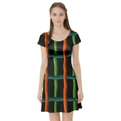 Orange Green Wires Short Sleeve Skater Dress