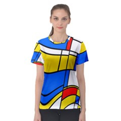 Colorful distorted shapes Women s Sport Mesh Tee