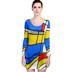 Colorful distorted shapes Long Sleeve Bodycon Dress