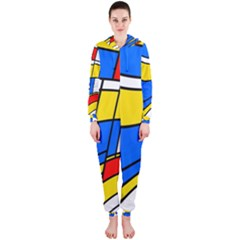 Colorful distorted shapes Hooded OnePiece Jumpsuit