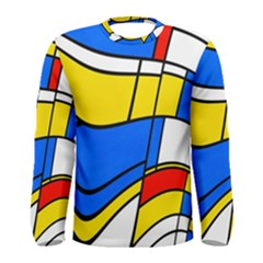 Colorful distorted shapes Men Long Sleeve T-shirt