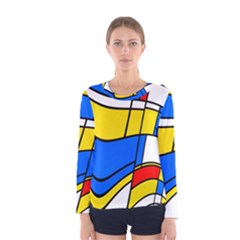 Colorful distorted shapes Women Long Sleeve T-shirt