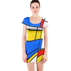 Colorful distorted shapes Short sleeve Bodycon dress