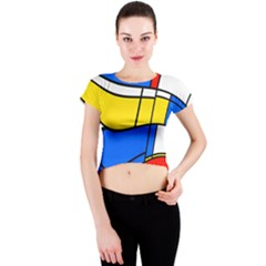 Colorful Distorted Shapes Crew Neck Crop Top