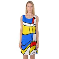 Colorful distorted shapes Sleeveless Satin Nightdress