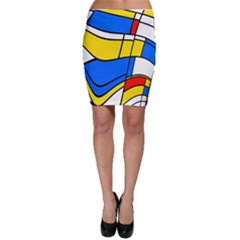 Colorful distorted shapes Bodycon Skirt