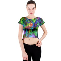 Unicorn Smoke Crew Neck Crop Top