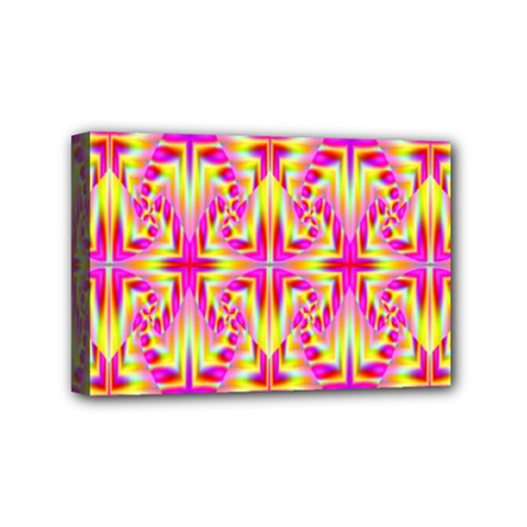Pink And Yellow Rave Pattern Mini Canvas 6  X 4  (framed)