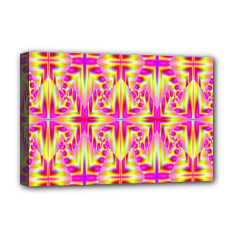 Pink And Yellow Rave Pattern Deluxe Canvas 18  X 12  (framed)