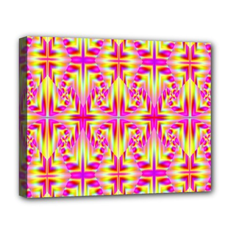 Pink And Yellow Rave Pattern Deluxe Canvas 20  X 16  (framed)