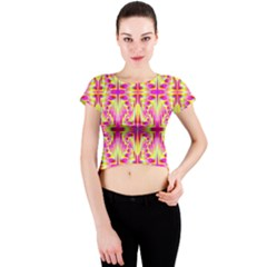 Pink and Yellow Rave Pattern Crew Neck Crop Top