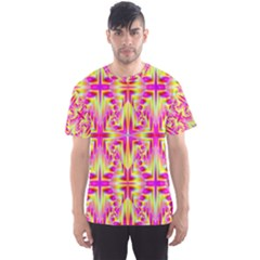 Pink and Yellow Rave Pattern Men s Sport Mesh Tee