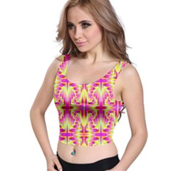Pink And Yellow Rave Pattern Crop Top
