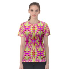 Pink And Yellow Rave Pattern Women s Sport Mesh Tee