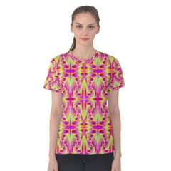 Pink And Yellow Rave Pattern Women s Cotton Tee