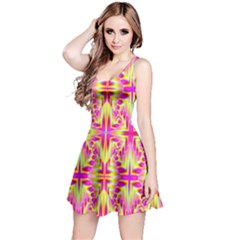 Pink and Yellow Rave Pattern Reversible Sleeveless Dress