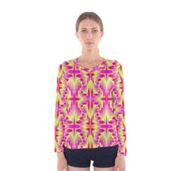Pink And Yellow Rave Pattern Women s Long Sleeve T Shirt