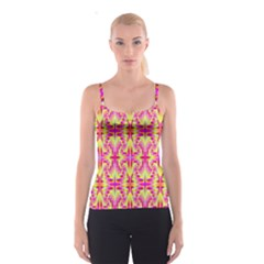 Pink and Yellow Rave Pattern Spaghetti Strap Top