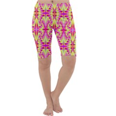Pink And Yellow Rave Pattern Cropped Leggings