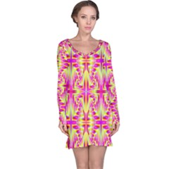 Pink and Yellow Rave Pattern Long Sleeve Nightdress