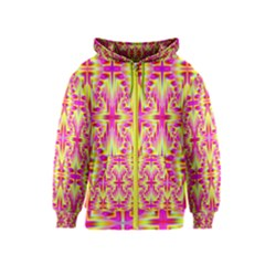 Pink And Yellow Rave Pattern Kids Zipper Hoodie