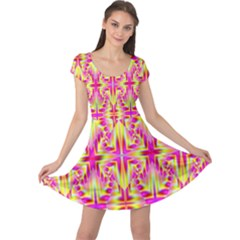 Pink And Yellow Rave Pattern Cap Sleeve Dress