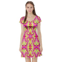 Pink And Yellow Rave Pattern Short Sleeve Skater Dress