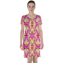 Pink and Yellow Rave Pattern Short Sleeve Nightdress