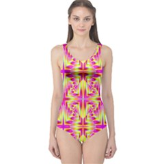 Pink And Yellow Rave Pattern One Piece Swimsuit