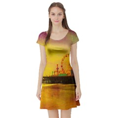 Yellow Purple Santa Monica Pier Short Sleeve Skater Dress