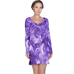 Lavender Smoke Swirls Long Sleeve Nightdress