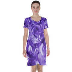 Lavender Smoke Swirls Short Sleeve Nightdress