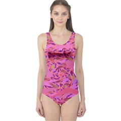 Bright Pink Confetti Storm One Piece Swimsuit