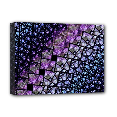 Dusk Blue And Purple Fractal Deluxe Canvas 16  X 12  (framed)