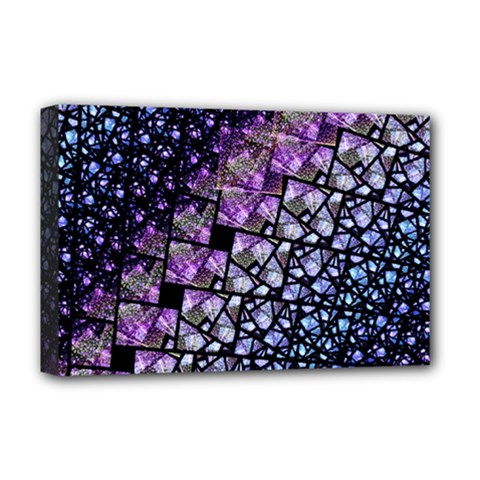 Dusk Blue And Purple Fractal Deluxe Canvas 18  X 12  (framed)