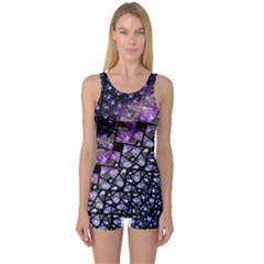 Dusk Blue and Purple Fractal One Piece Boyleg Swimsuit