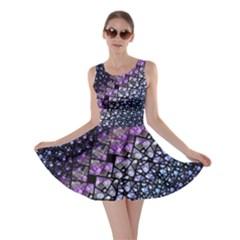 Dusk Blue and Purple Fractal Skater Dress