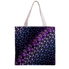 Dusk Blue and Purple Fractal Grocery Tote Bag