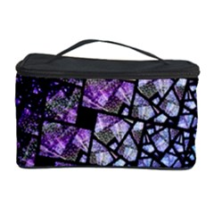 Dusk Blue and Purple Fractal Cosmetic Storage Case