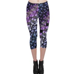 Dusk Blue and Purple Fractal Capri Leggings