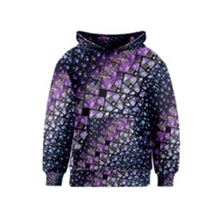 Dusk Blue and Purple Fractal Kid s Pullover Hoodie