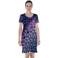 Dusk Blue and Purple Fractal Short Sleeve Nightdress