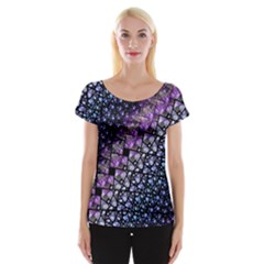 Dusk Blue and Purple Fractal Women s Cap Sleeve Top