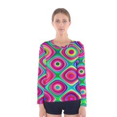 Psychedelic Checker Board Women s Long Sleeve T-shirt